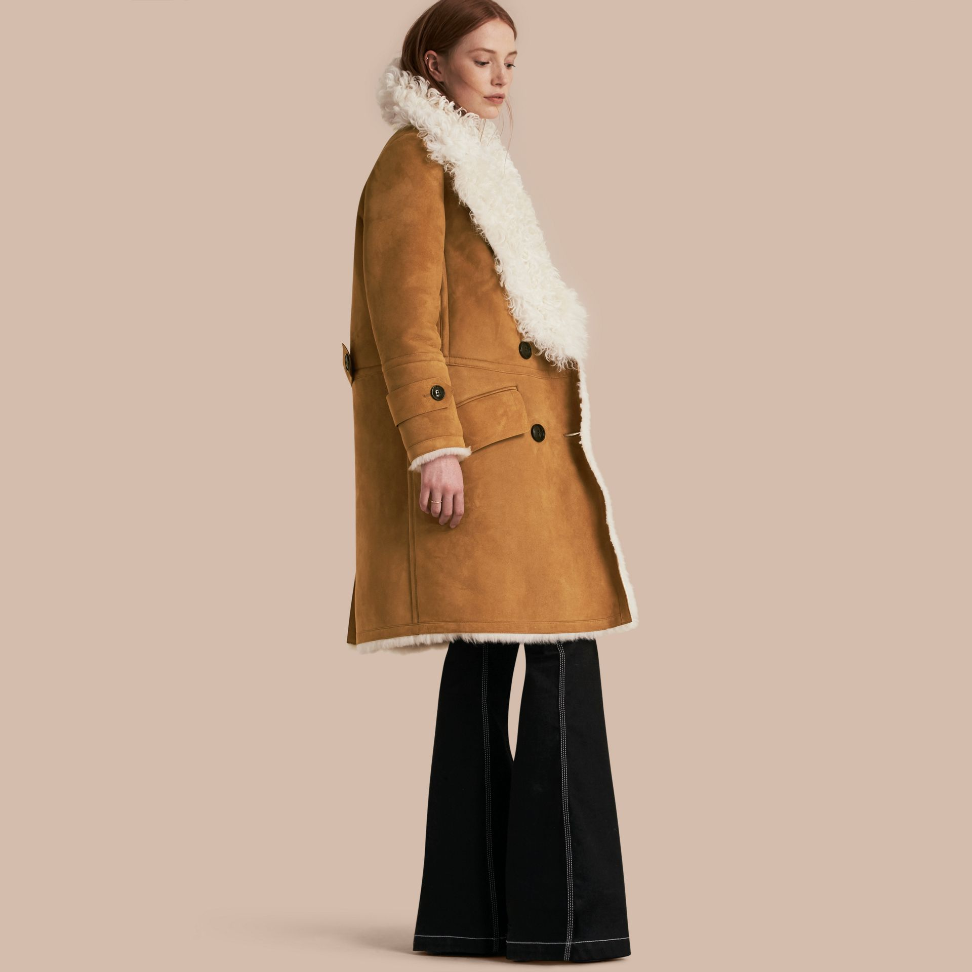 Ecru/tan Double-breasted Shearling Coat - gallery image 1