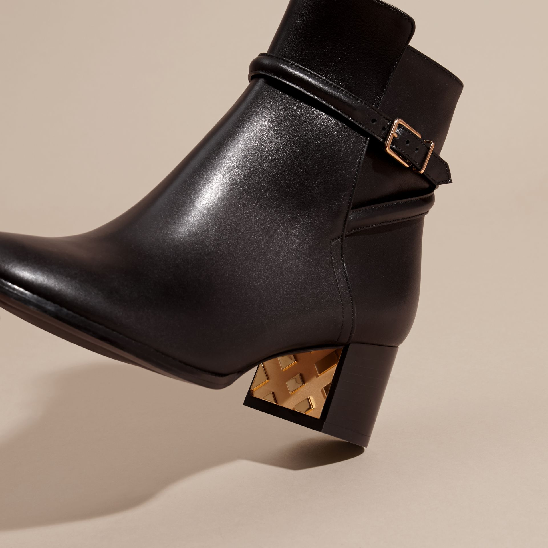 Black Strap Detail Leather Ankle Boots - gallery image 5