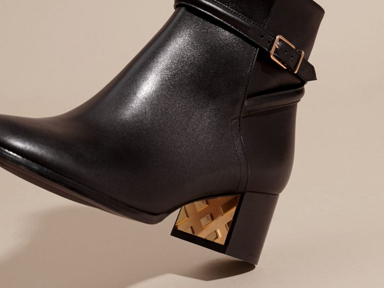 Black Strap Detail Leather Ankle Boots - cell image 4