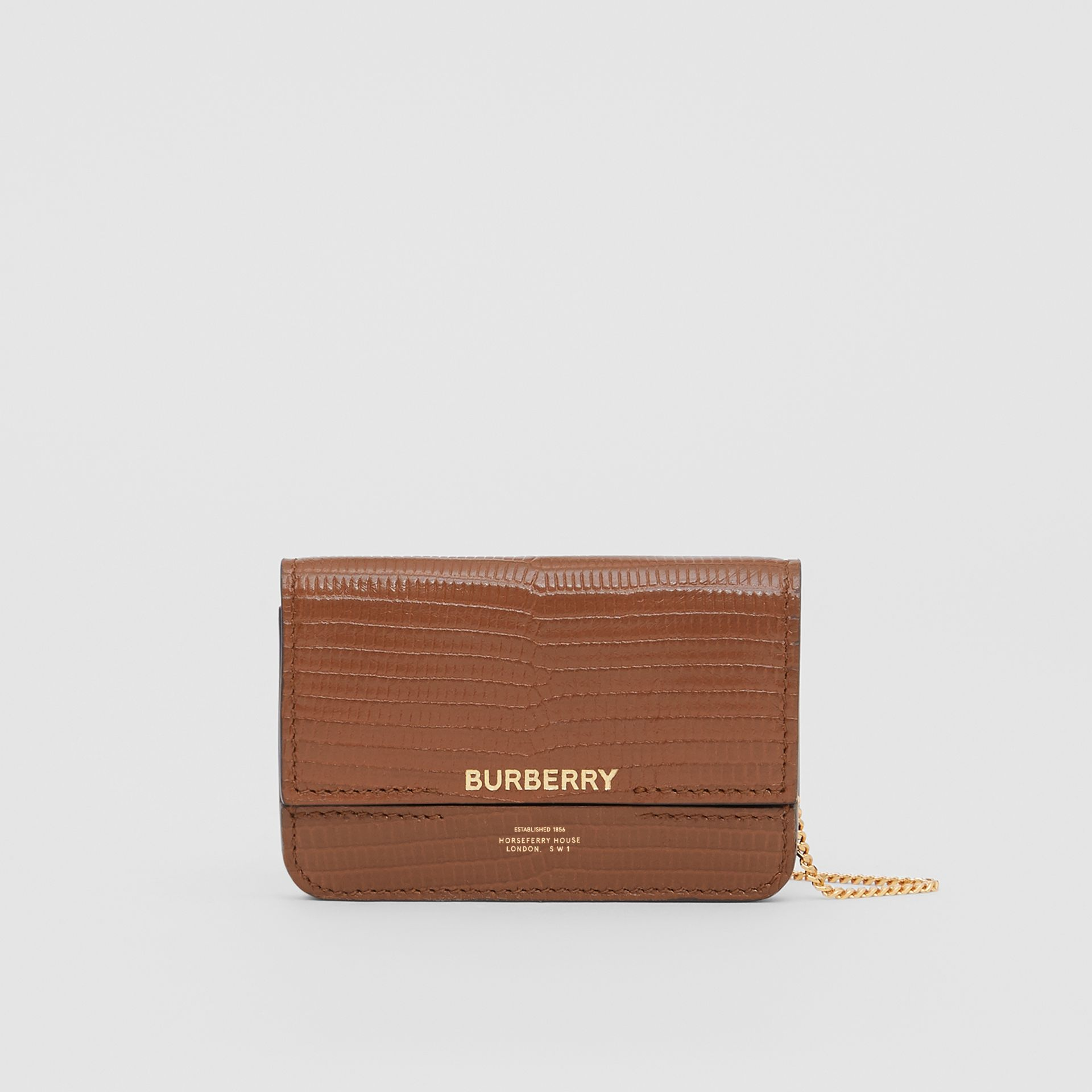 Embossed Deerskin Card Case with Chain Strap in Tan - Women | Burberry United Kingdom - gallery image 0