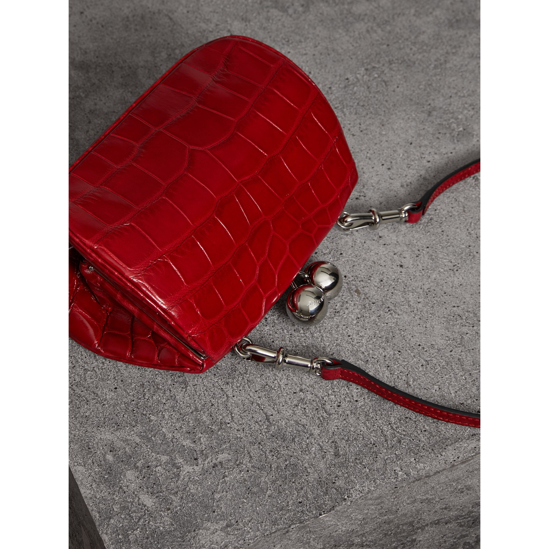 Small Alligator Metal Frame Clutch Bag in Bright Red - Women | Burberry - gallery image 2