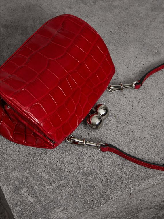 Small Alligator Metal Frame Clutch Bag in Bright Red - Women | Burberry - cell image 2
