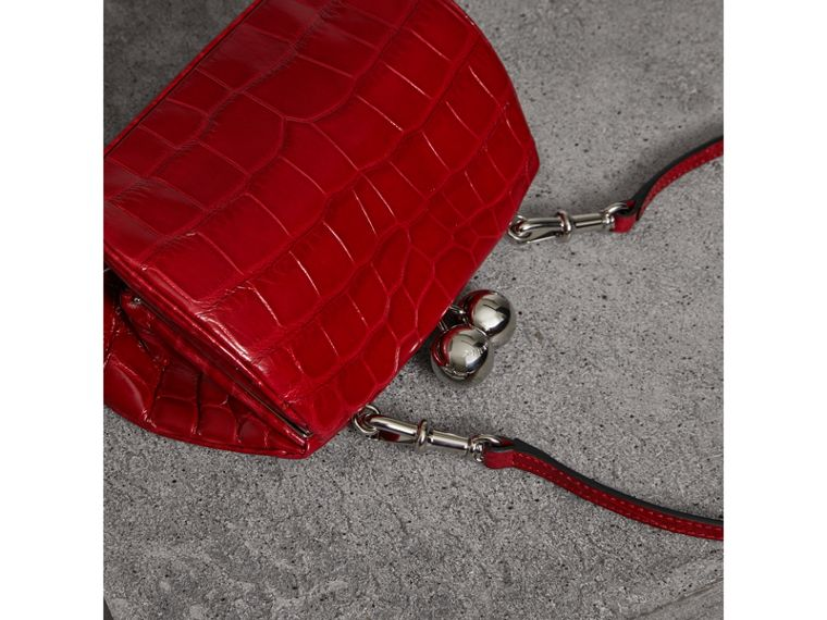 Small Alligator Metal Frame Clutch Bag in Bright Red - Women | Burberry - cell image 4