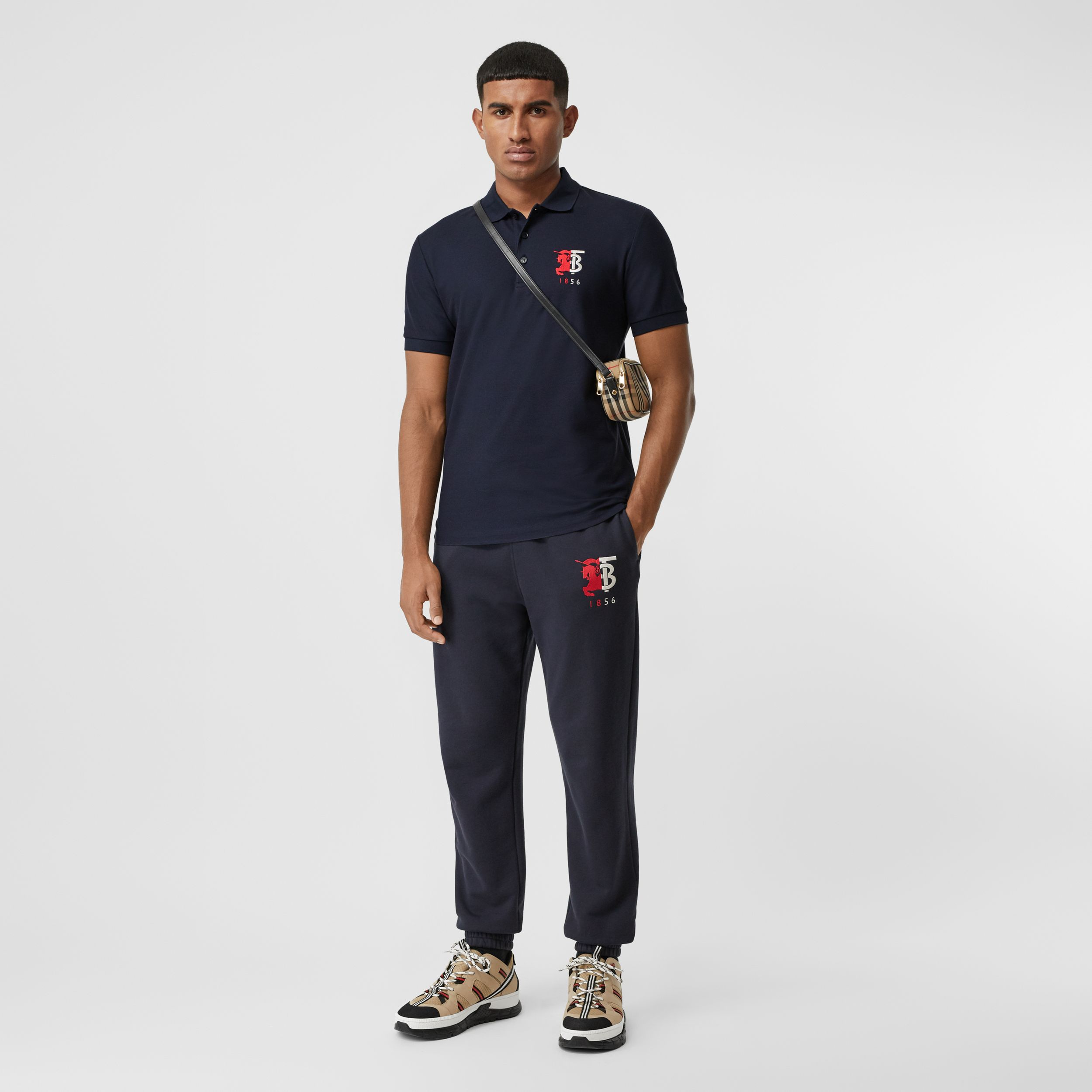 Contrast Logo Graphic Cotton Piqué Polo Shirt in Navy - Men | Burberry - 1