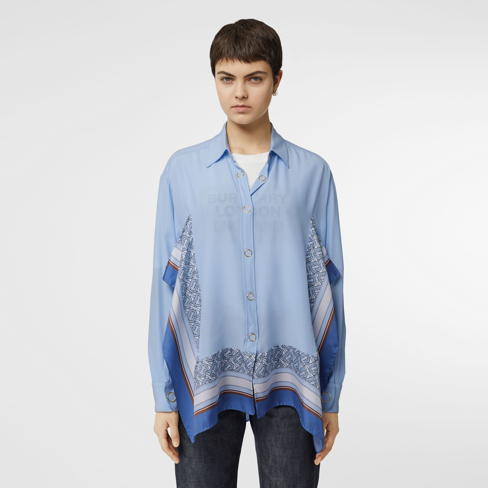 Monogram Print Trim Silk Oversized Shirt in Pale Blue - Women | Burberry Australia - gallery image 0