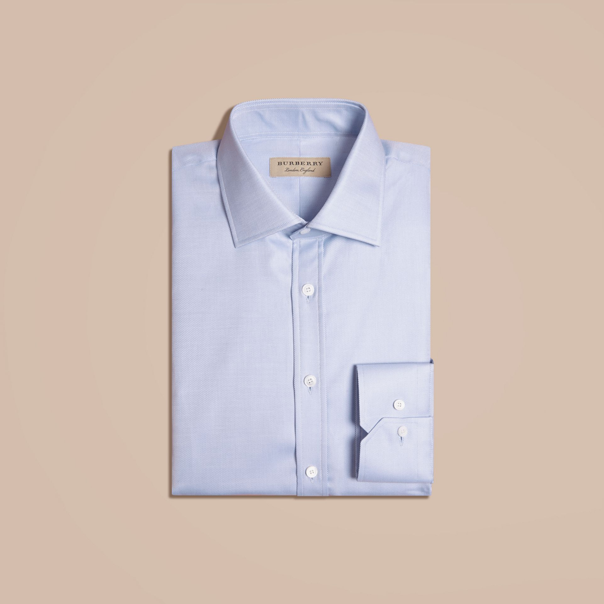City blue Modern Fit Cotton Twill Shirt City Blue - gallery image 4
