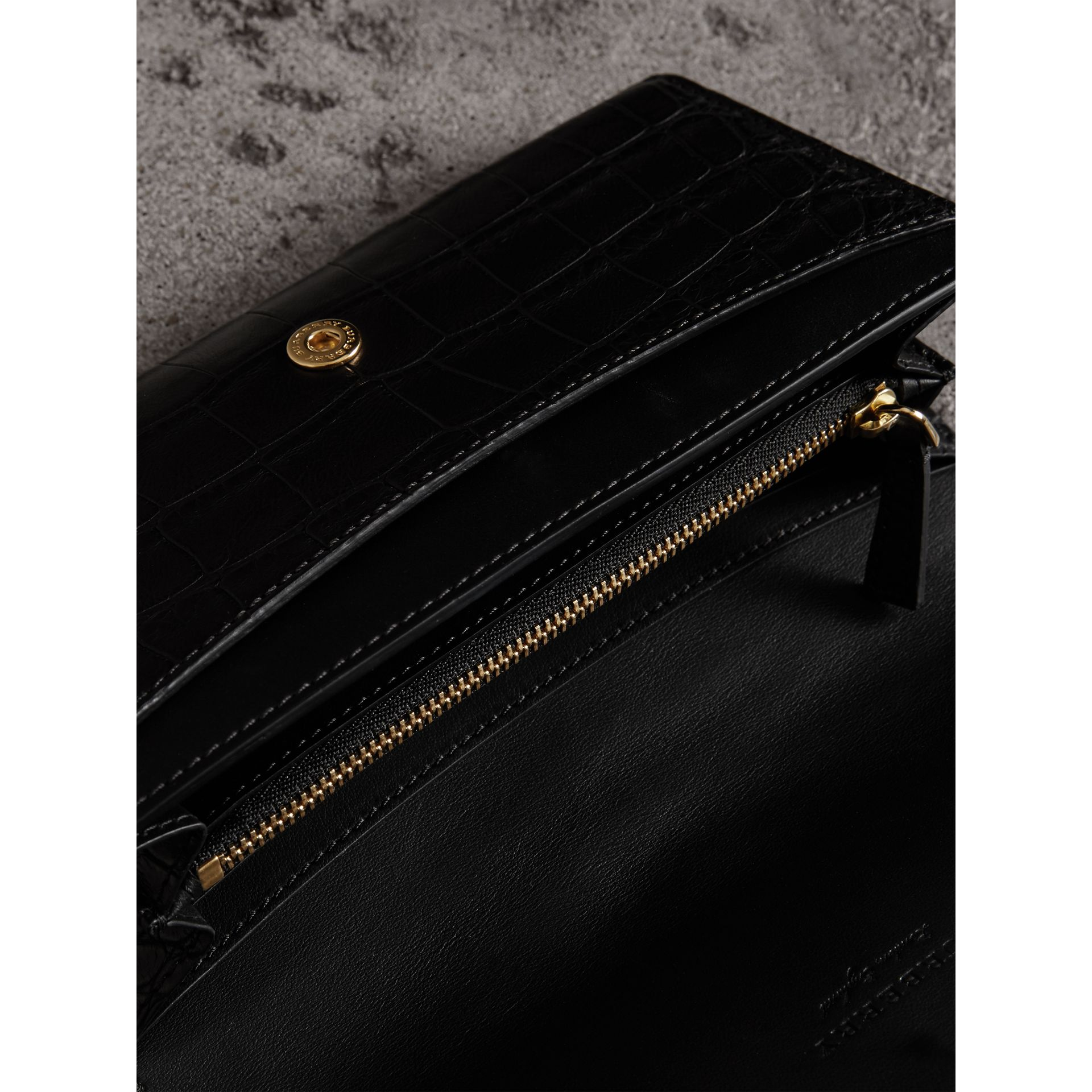 Alligator and Leather Continental Wallet in Black - Women | Burberry United States - gallery image 3