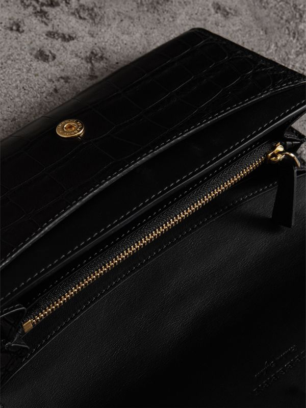 Alligator and Leather Continental Wallet in Black - Women | Burberry United States - cell image 3