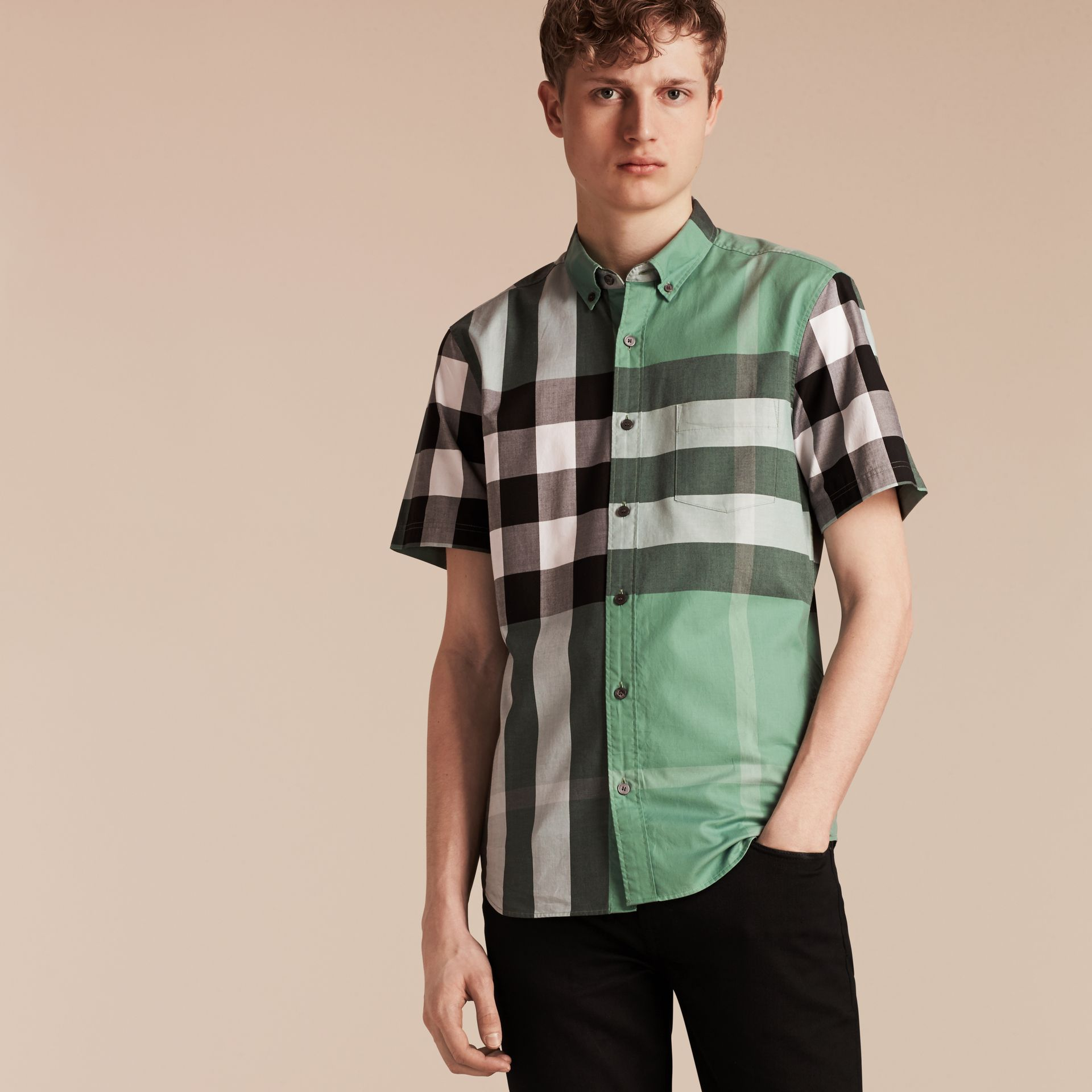 Aqua green Short-sleeved Check Cotton Shirt Aqua Green - gallery image 6