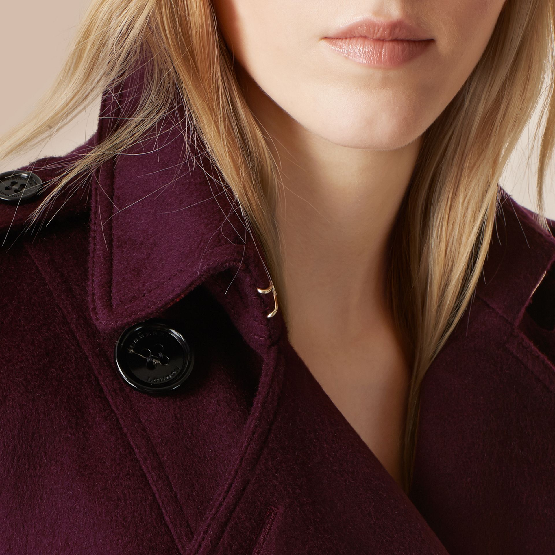 Plum Sandringham Fit Cashmere Trench Coat Plum - gallery image 4