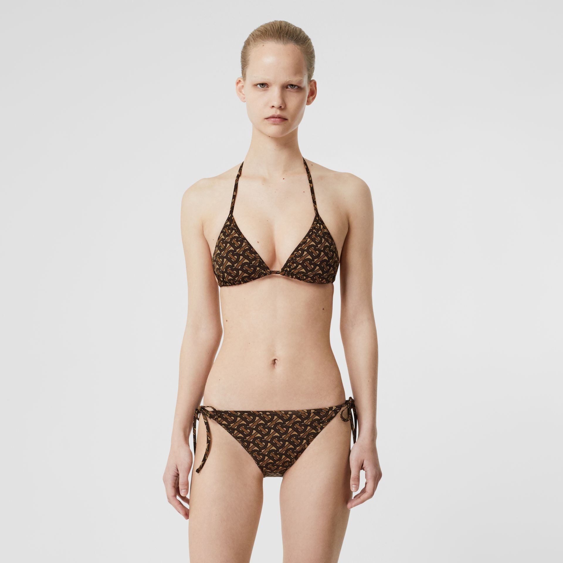 Monogram Print Triangle Bikini in Brown | Burberry - gallery image 0