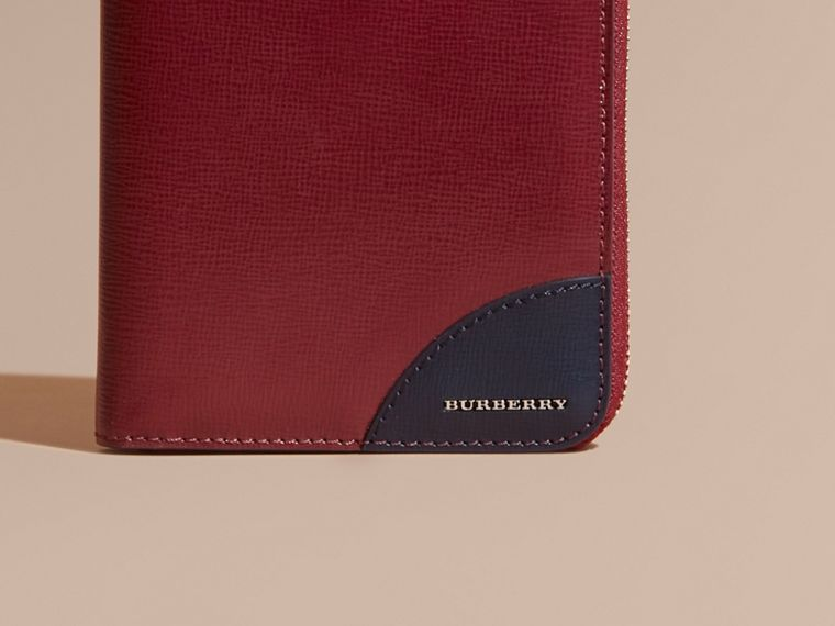 Contrast Corner London Leather Ziparound Wallet in Burgundy Red - cell image 1