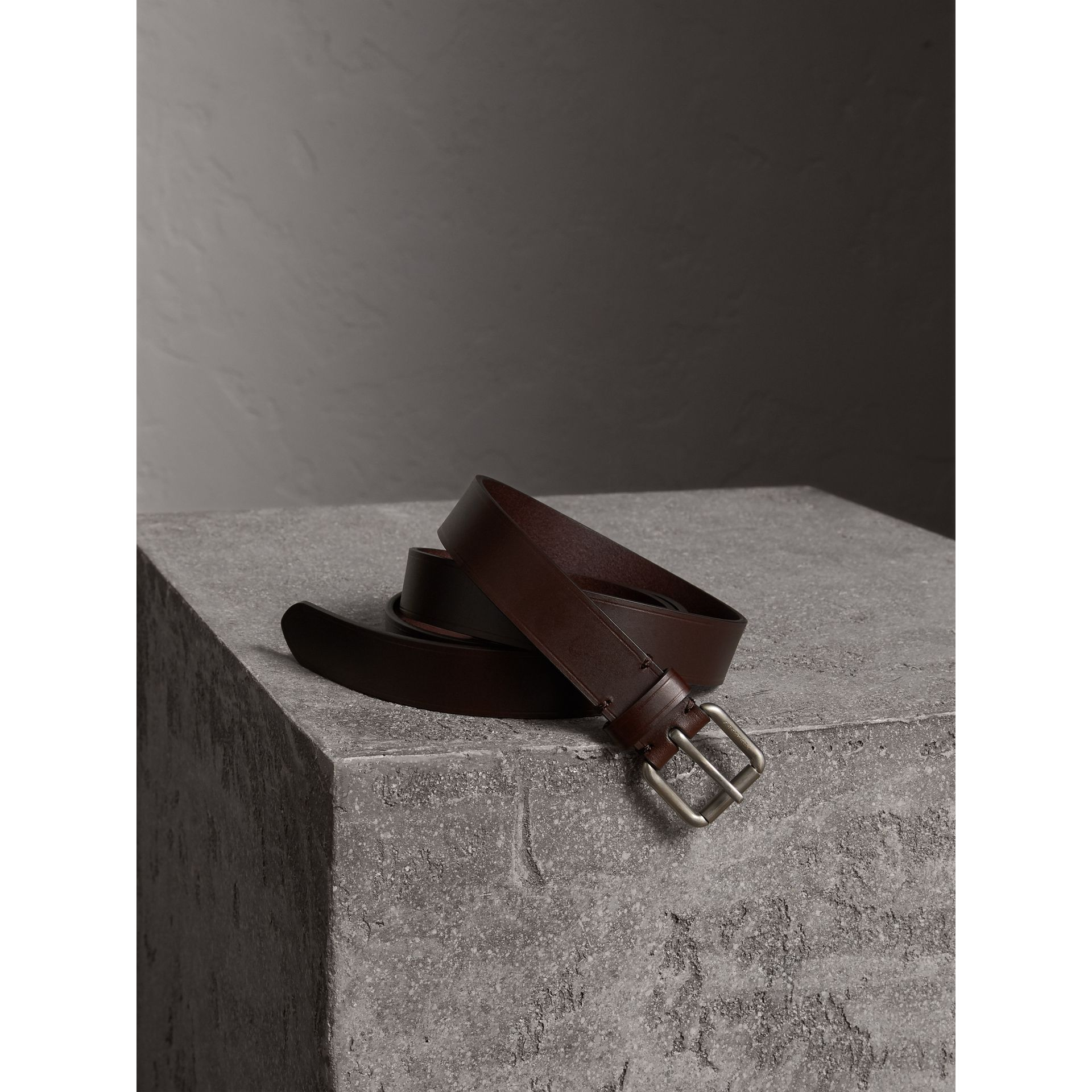 Smooth Leather Belt in Bitter Chocolate - Men | Burberry - gallery image 1
