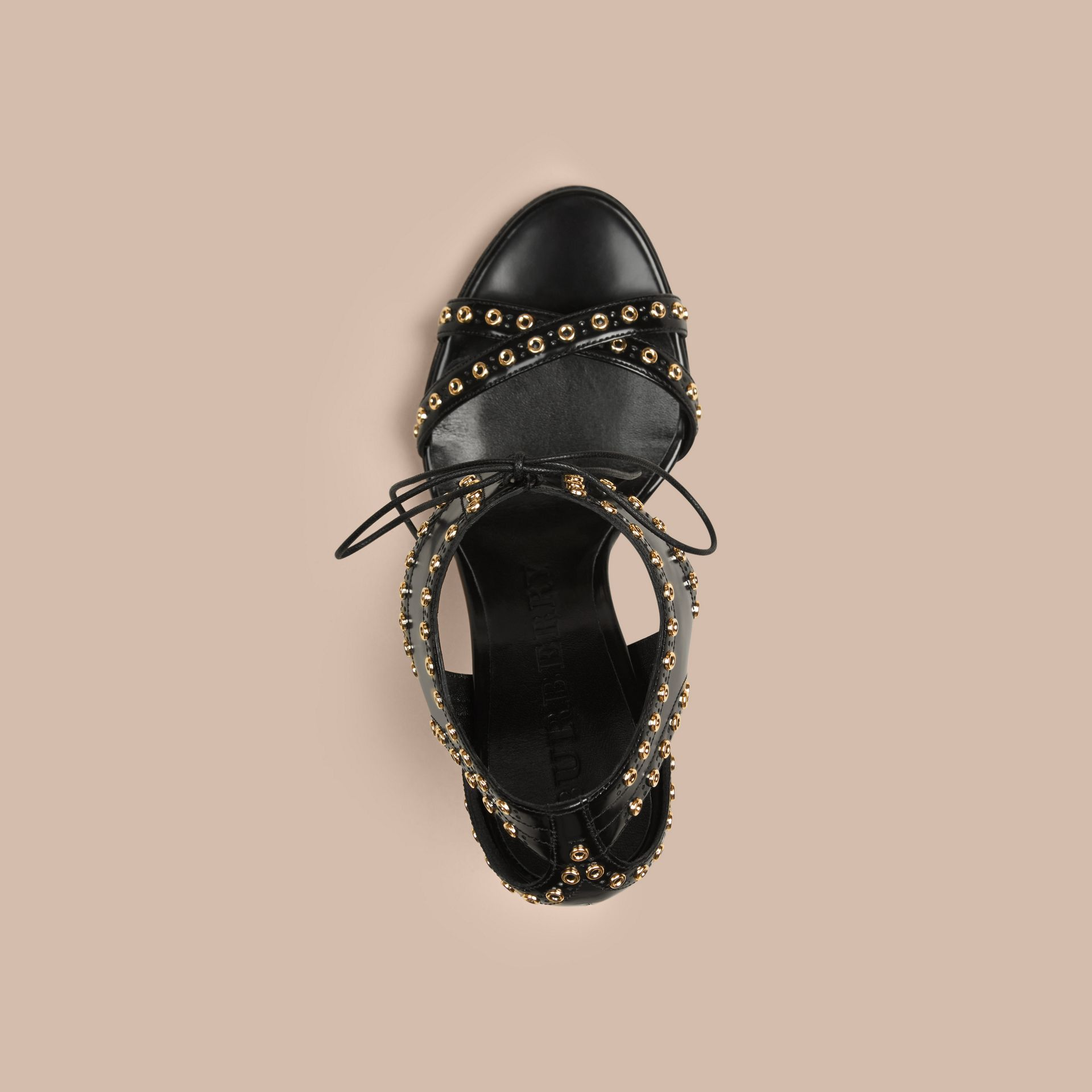 Black Online Exclusive Eyelet Detail Leather Lace-up Sandals - gallery image 3