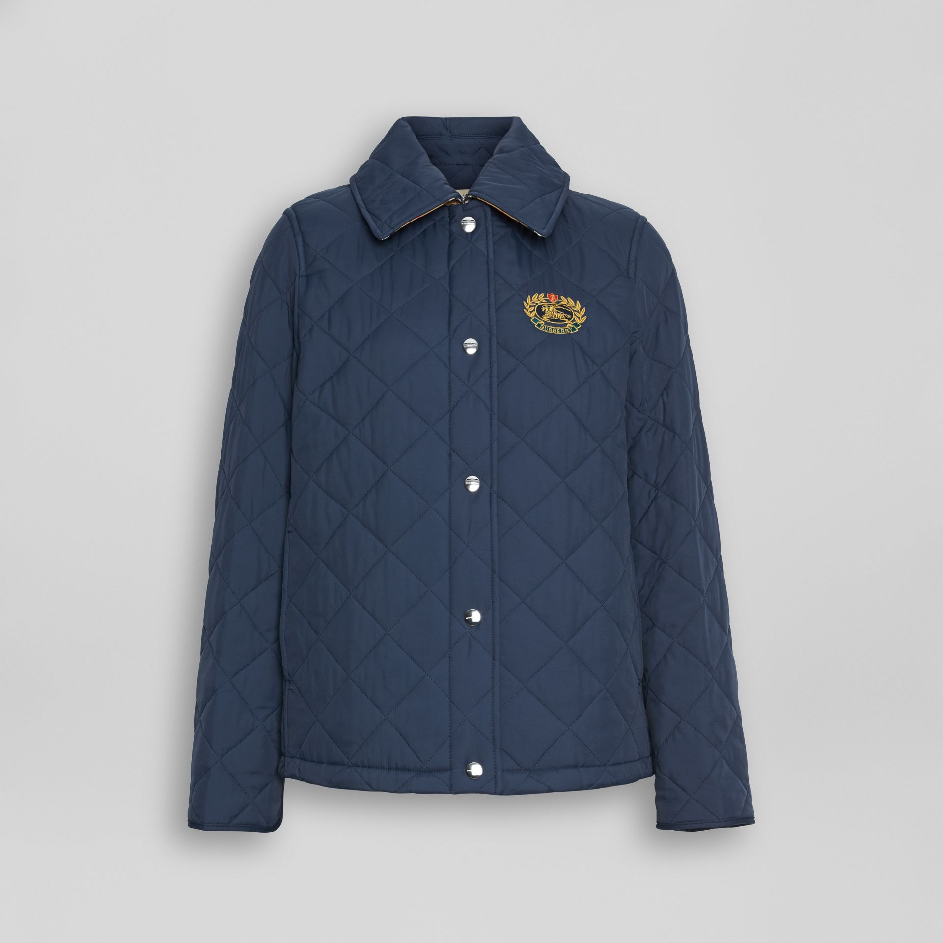 Embroidered Crest Diamond Quilted Jacket in Navy - Women | Burberry Australia - gallery image 3