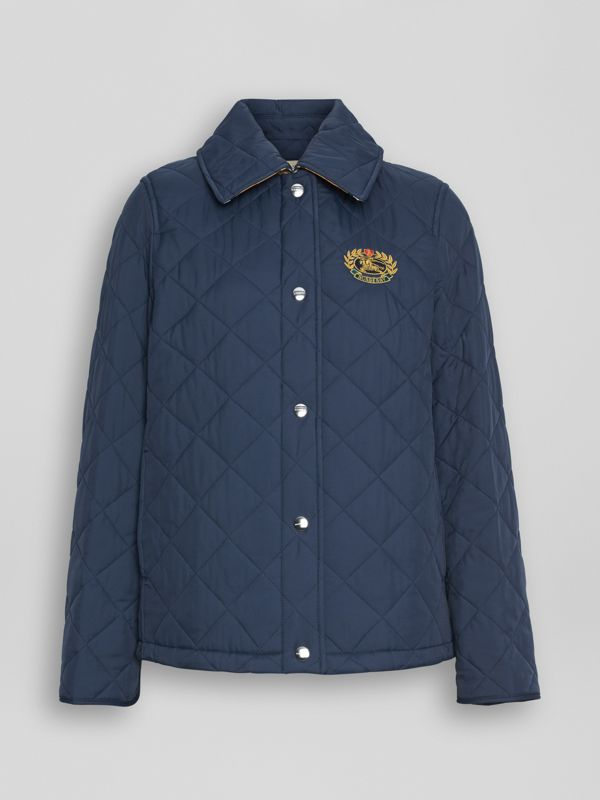Embroidered Crest Diamond Quilted Jacket in Navy - Women | Burberry Australia - cell image 3