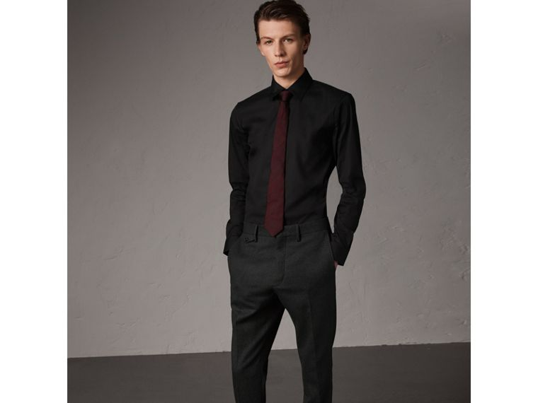 Slim Fit Stretch Cotton Shirt in Black - Men | Burberry United Kingdom - cell image 4