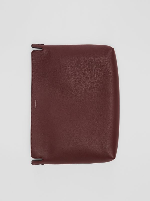 Large Tri-tone Leather Clutch in Deep Claret/dusty Rose - Women | Burberry United States - cell image 2