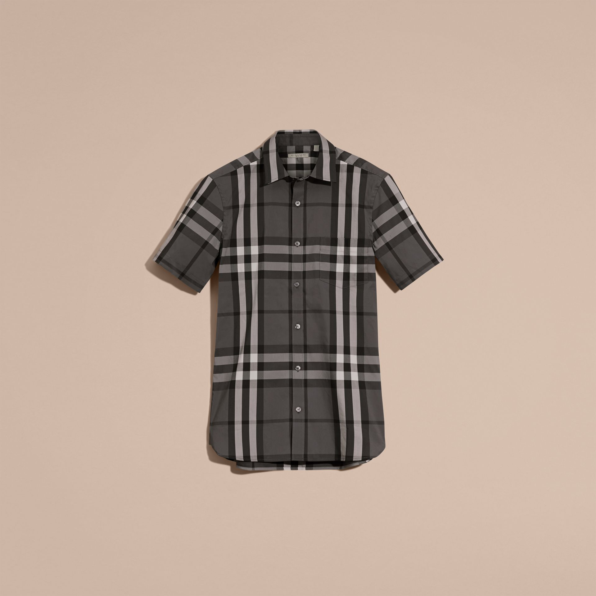Short-sleeved Check Stretch Cotton Shirt in Charcoal - gallery image 4