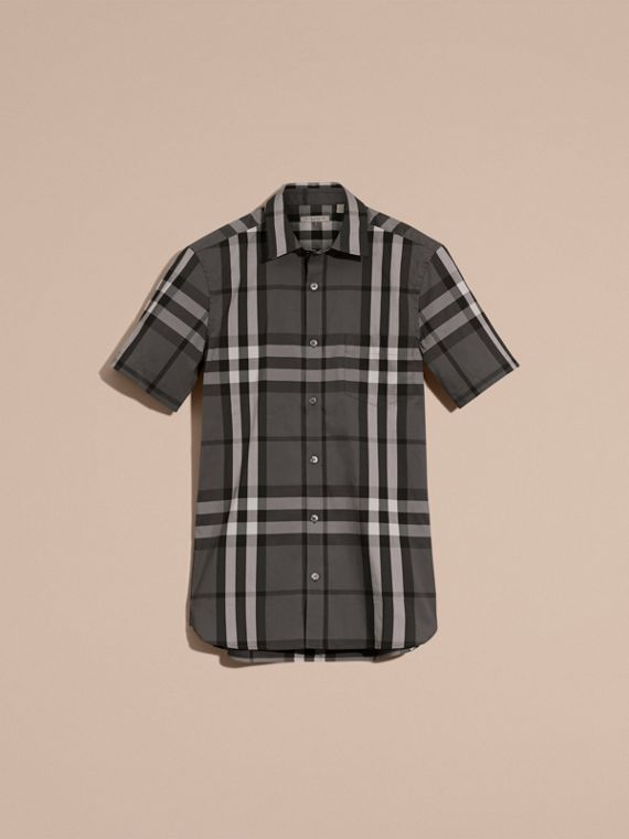 Short-sleeved Check Stretch Cotton Shirt in Charcoal - cell image 3