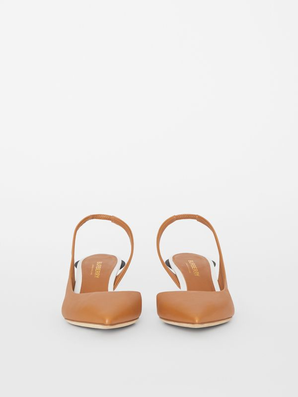 Leather Slingback Pumps in Camel - Women | Burberry - cell image 3