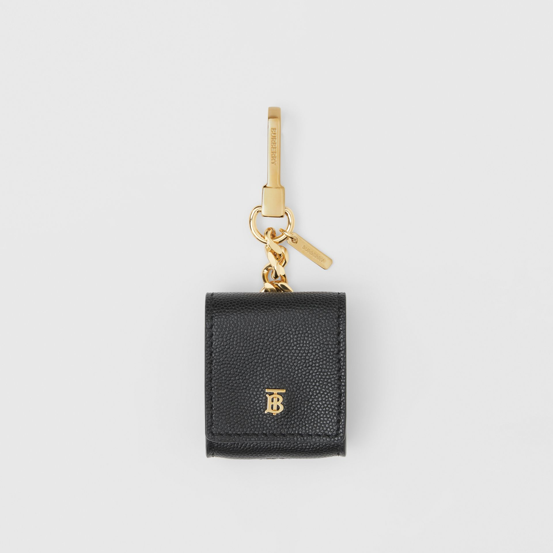 Grainy Leather AirPod Case in Black | Burberry - gallery image 0