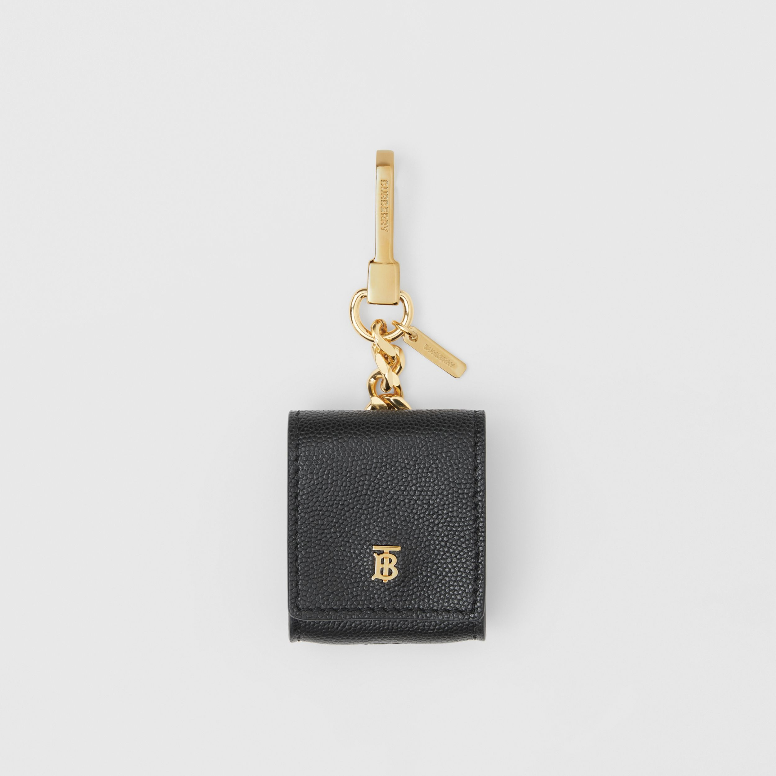 Grainy Leather AirPods Case in Black | Burberry - 1