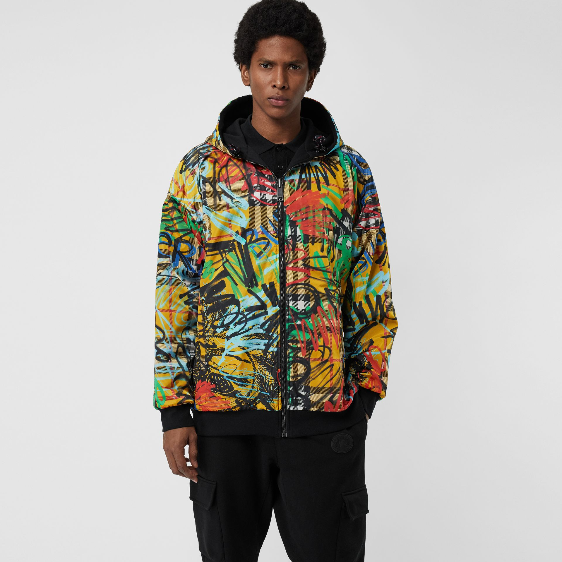 Reversible Graffiti Scribble Check Print Hooded Top in Black - Men | Burberry United States - gallery image 3