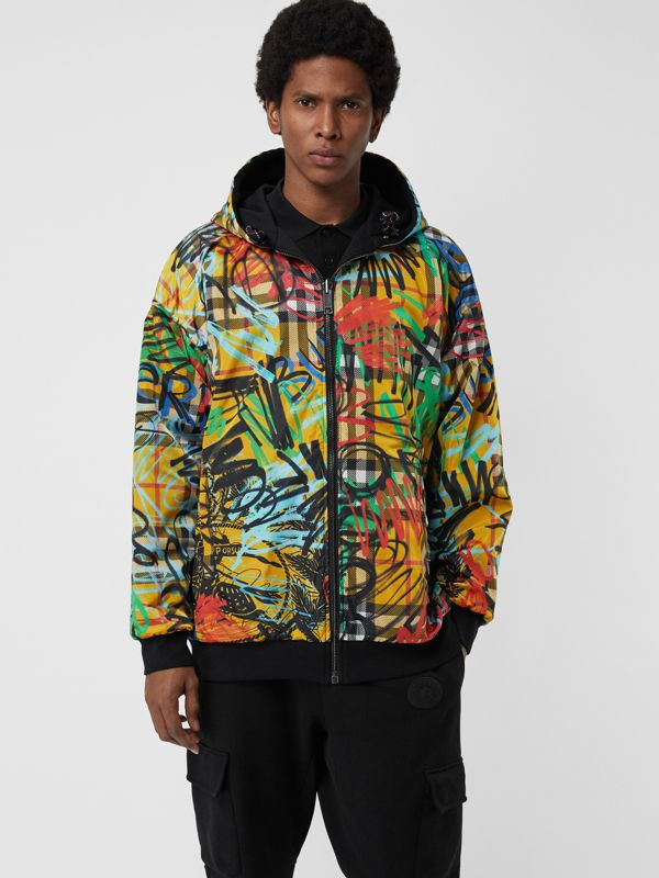 Reversible Graffiti Scribble Check Print Hooded Top in Black - Men | Burberry United States - cell image 3