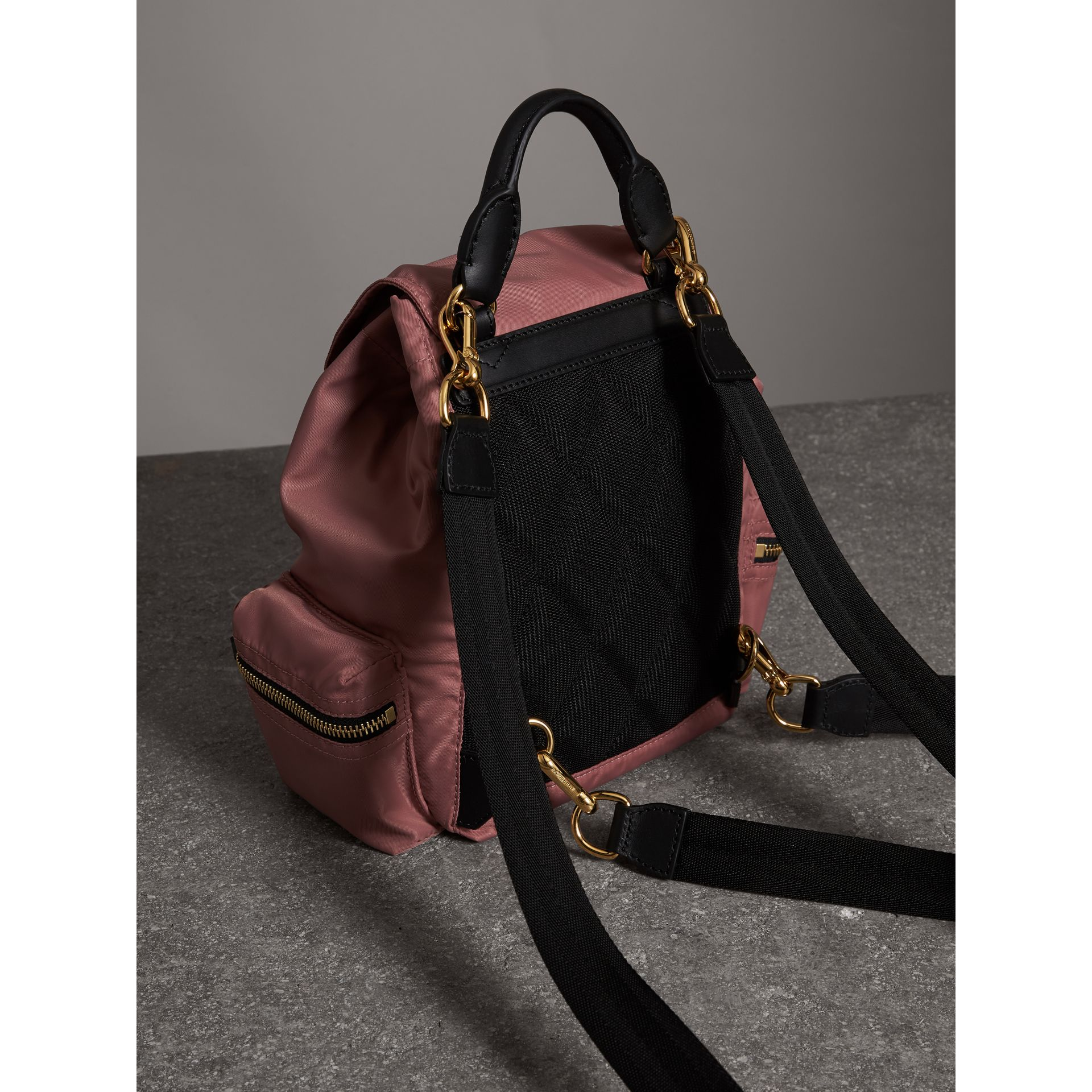 The Crossbody Rucksack in Nylon and Leather in Mauve Pink - Women | Burberry United States - gallery image 4