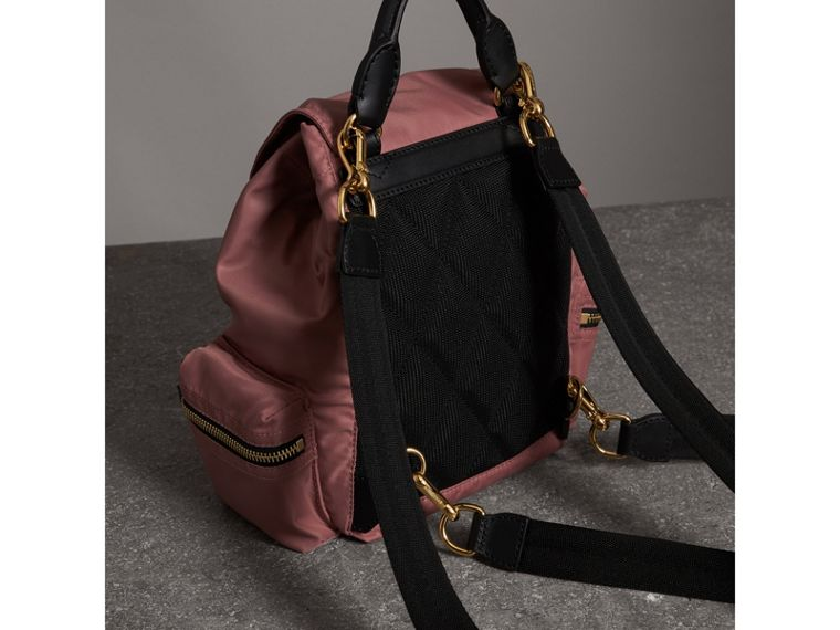 The Crossbody Rucksack in Nylon and Leather in Mauve Pink - Women | Burberry - cell image 4