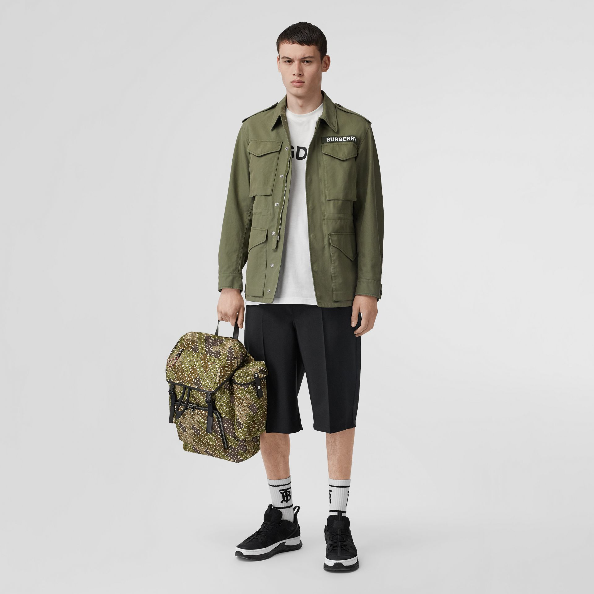 Medium Monogram Print Nylon Backpack in Khaki Green - Men | Burberry Singapore - gallery image 5