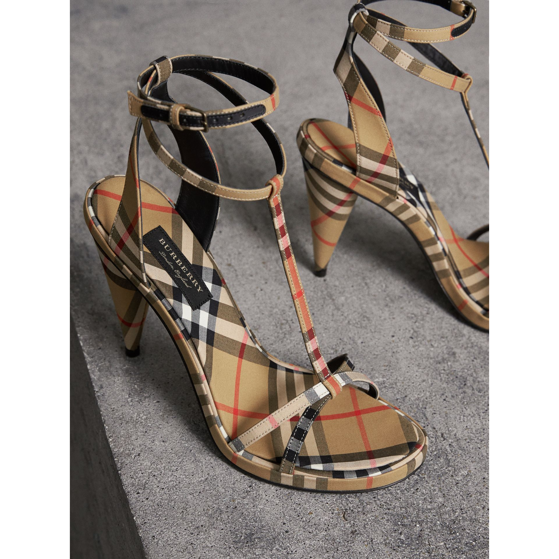 Vintage Check Cotton High-heel Sandals in Antique Yellow - Women | Burberry United Kingdom - gallery image 4