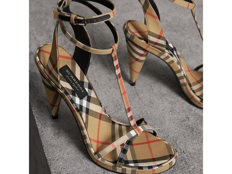 Vintage Check Cotton High-heel Sandals in Antique Yellow - Women | Burberry - cell image 4