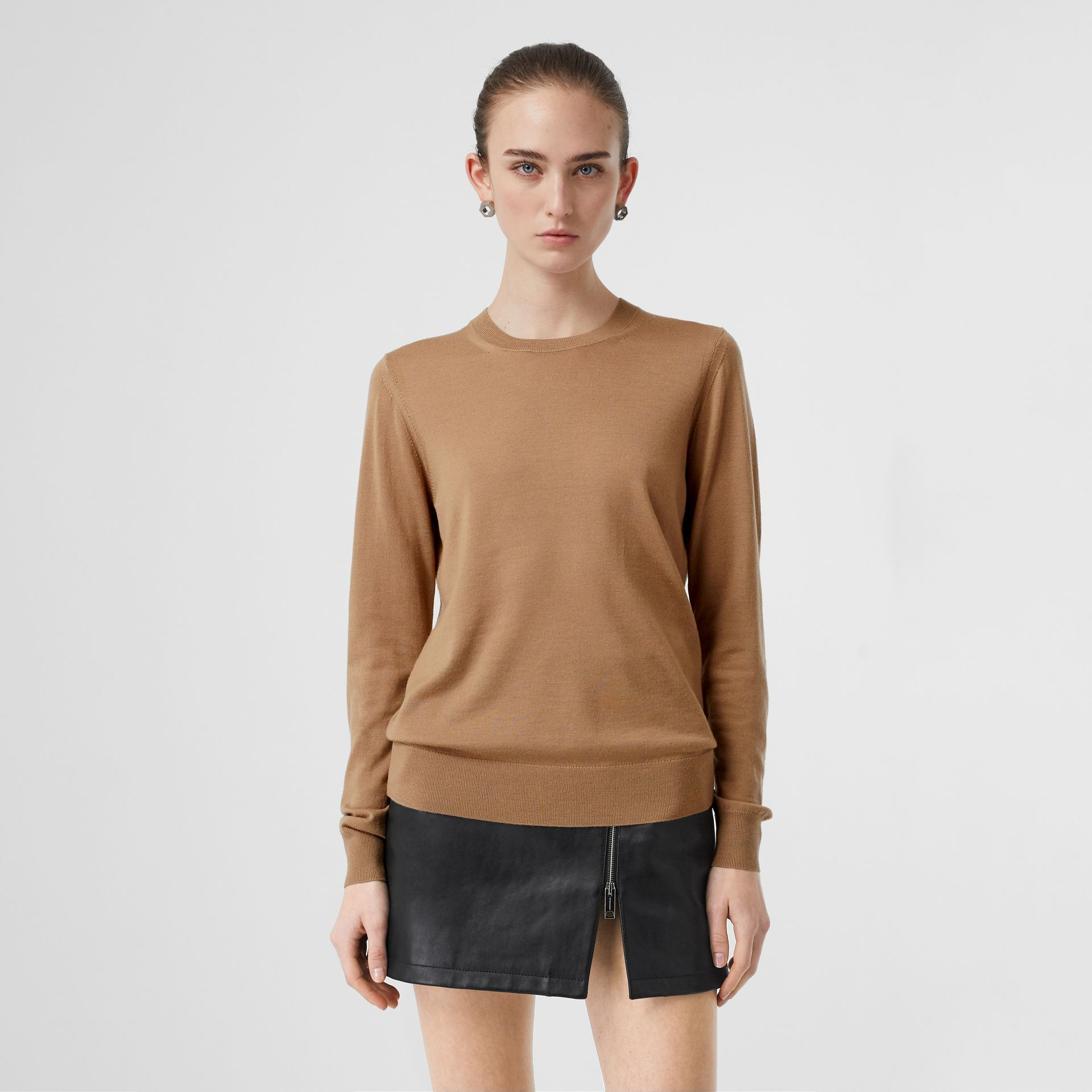 Vintage Check Detail Merino Wool Sweater in Camel - Women | Burberry - gallery image 4