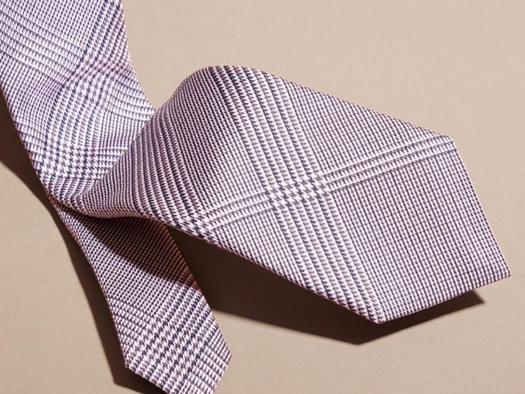 Rosa rame chiaro Cravatta dal taglio sottile in cotone e seta con motivo check Rosa Rame Chiaro - cell image 1