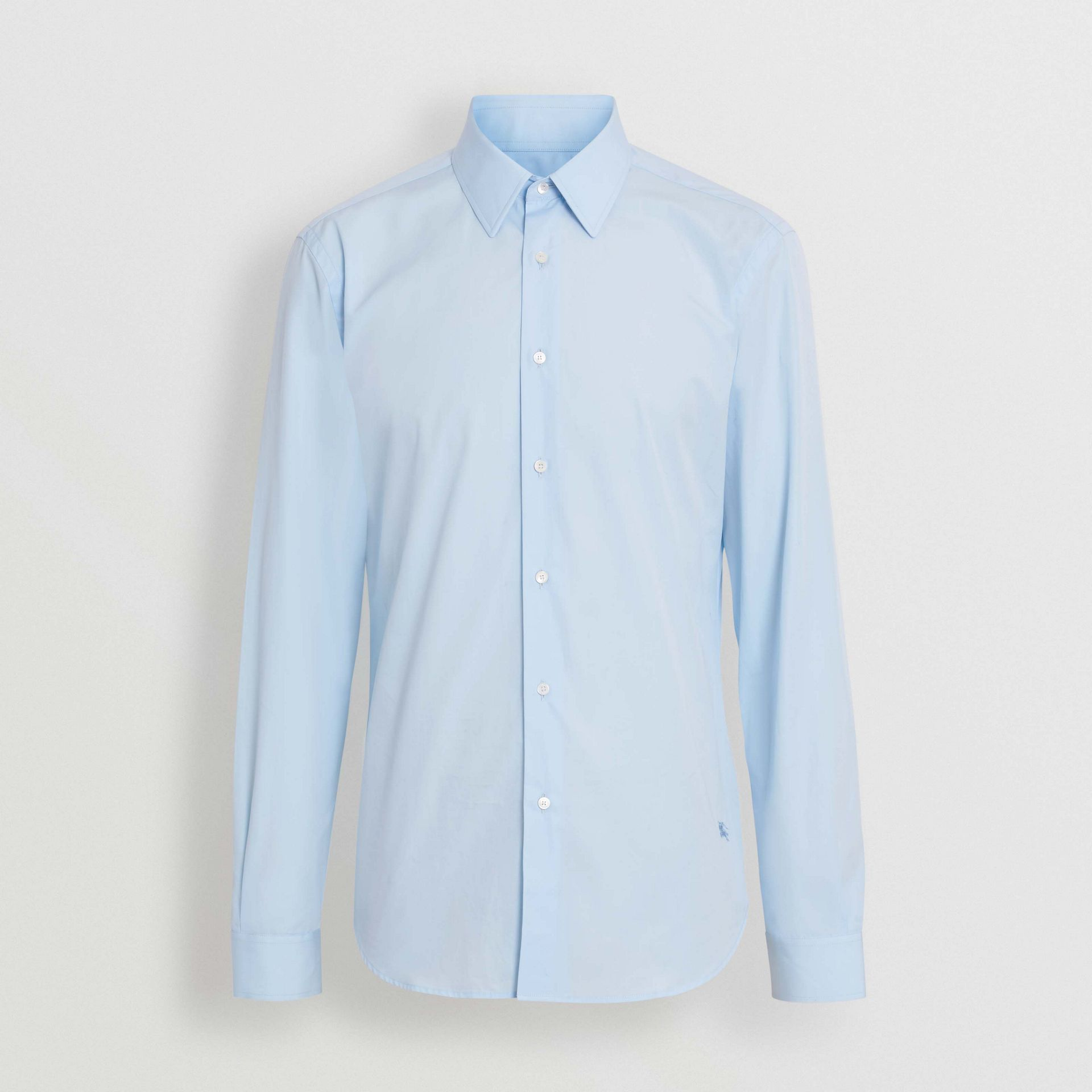 Slim Fit Cotton Poplin Shirt in City Blue - Men | Burberry - gallery image 3