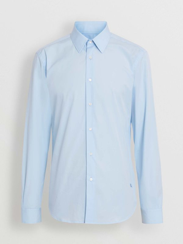 Slim Fit Cotton Poplin Shirt in City Blue - Men | Burberry United States - cell image 3