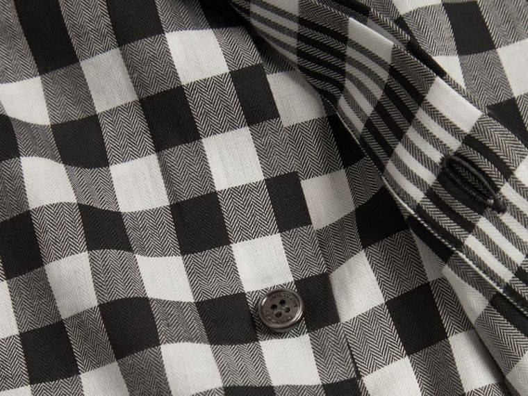 Black Graphic Check Cotton Shirt Black - cell image 1