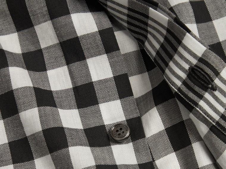 Nero Camicia in cotone con motivo check grafico Nero - cell image 1