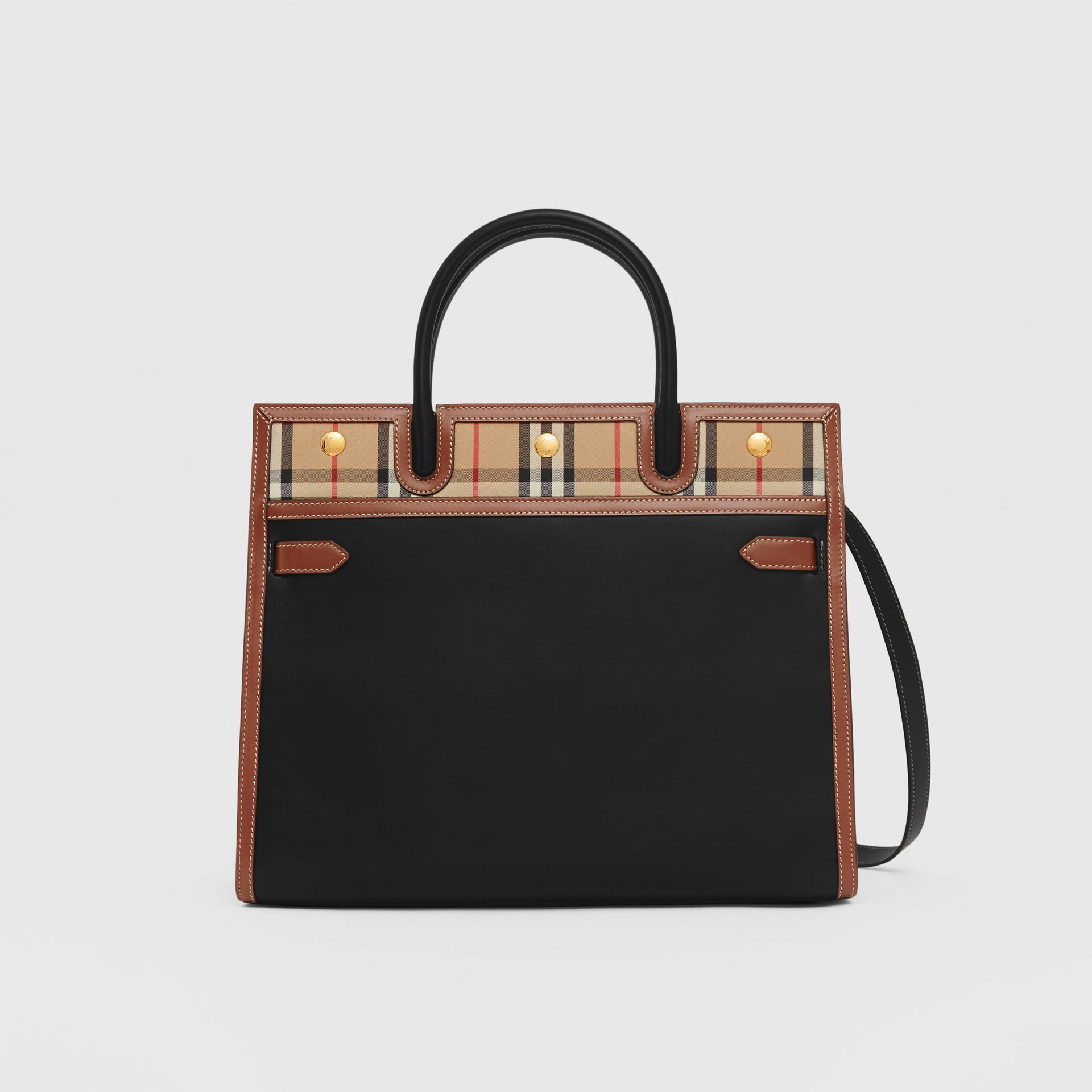 Medium Leather and Vintage Check Two-handle Title Bag in Black - Women | Burberry - gallery image 0