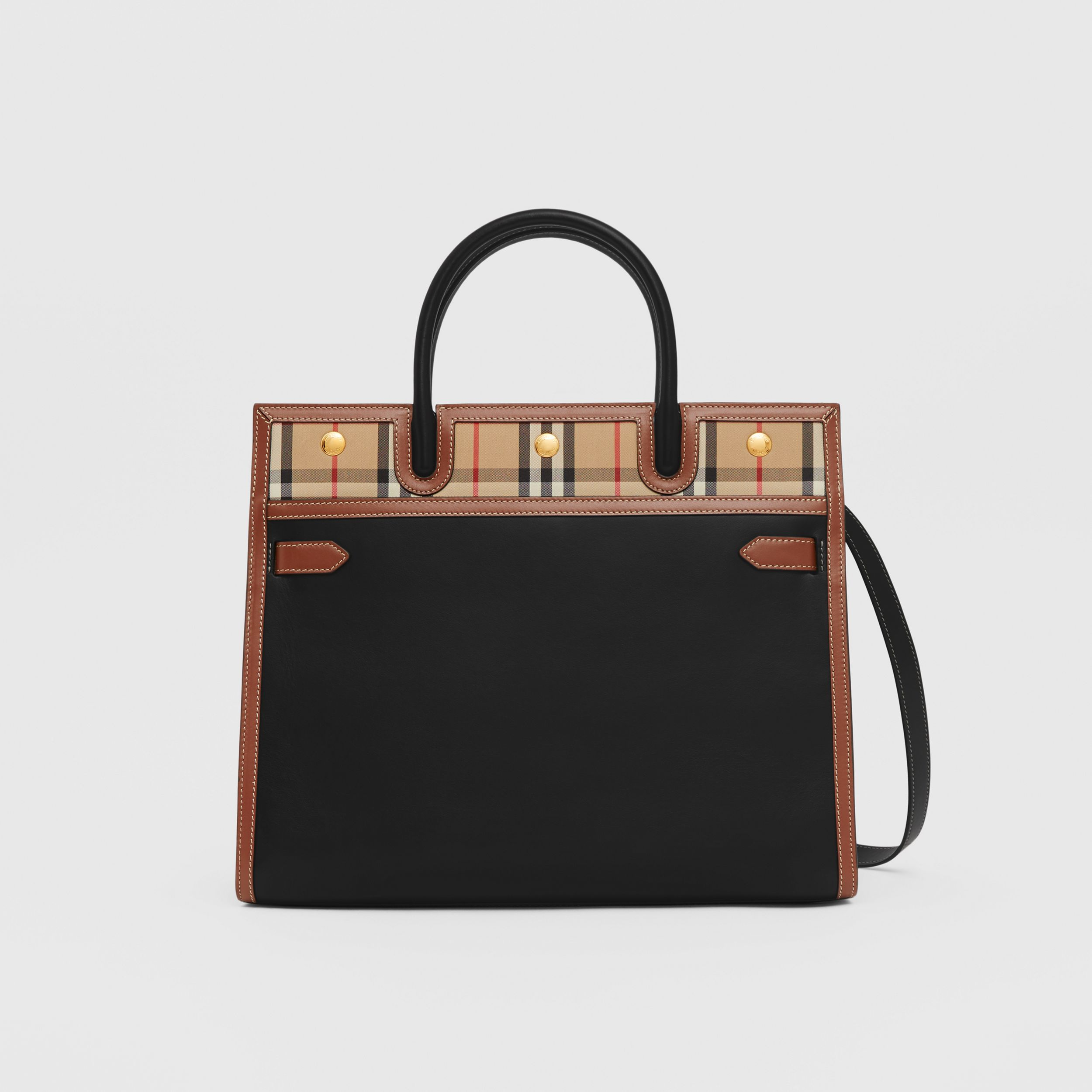 Medium Leather and Vintage Check Two-handle Title Bag in Black - Women | Burberry United Kingdom - 1