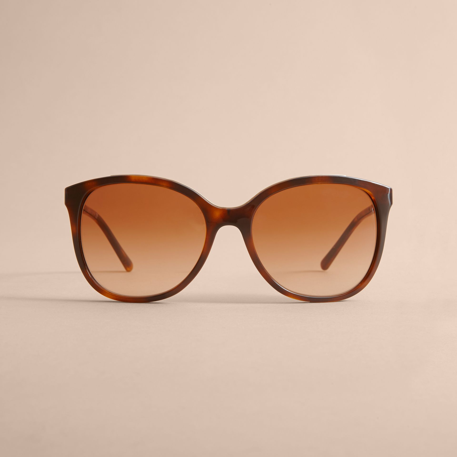 Check Detail Square Frame Sunglasses in Tortoiseshell - Women | Burberry Australia - gallery image 3