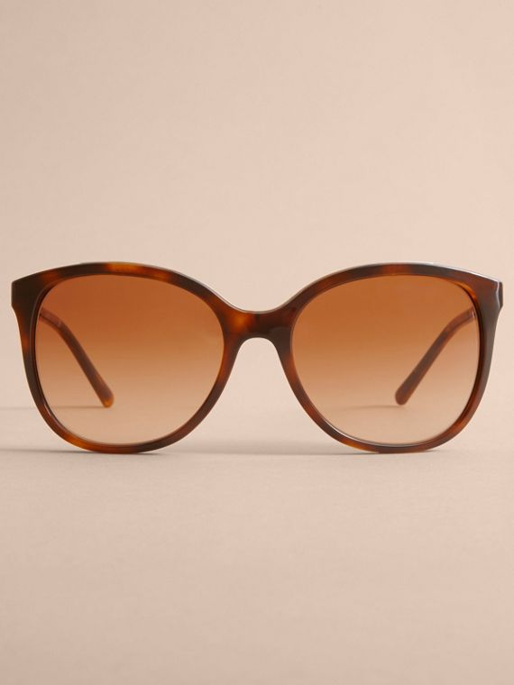 Check Detail Square Frame Sunglasses in Tortoiseshell - Women | Burberry - cell image 2