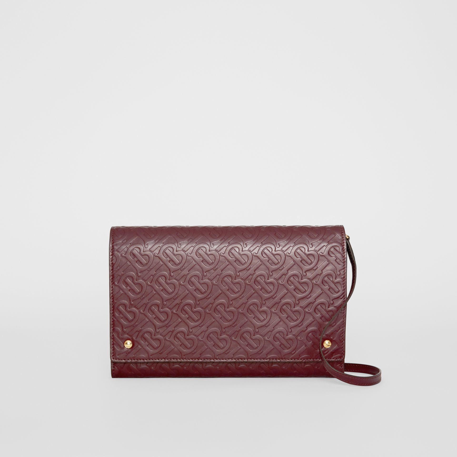 Small Monogram Leather Bag with Detachable Strap in Oxblood - Women | Burberry - gallery image 0