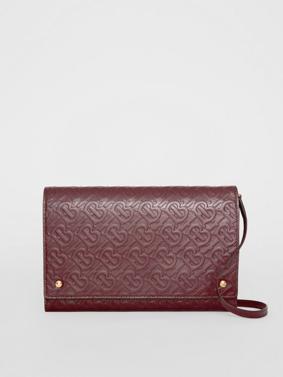 Small Monogram Leather Bag with Detachable Strap in Oxblood