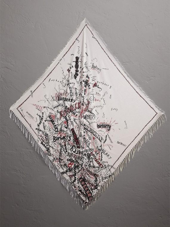 Lenço de algodão e seda com estampa Doodle (Vermelho)