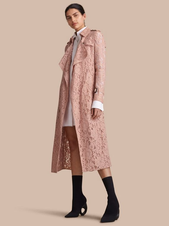 Macramé Lace Trench Coat in Pale Pink