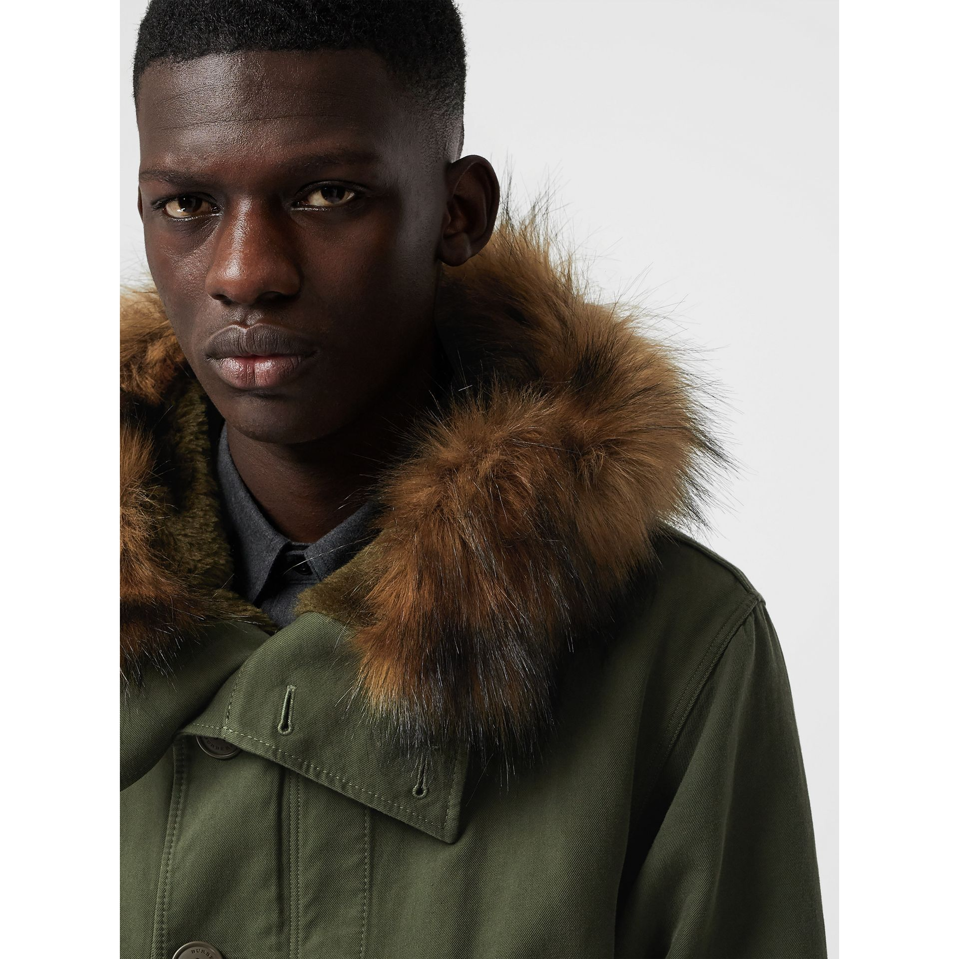 Double-faced Cotton Silk Hooded Parka with Warmer in Olive - Men | Burberry Australia - gallery image 1