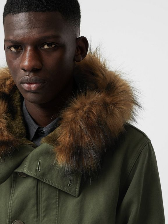 Double-faced Cotton Silk Hooded Parka with Warmer in Olive - Men | Burberry - cell image 1